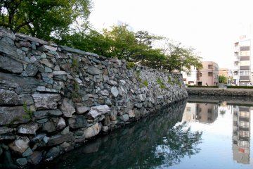 <p>Stone walls of Tokushima Castle. Look at the colorful stones here</p>