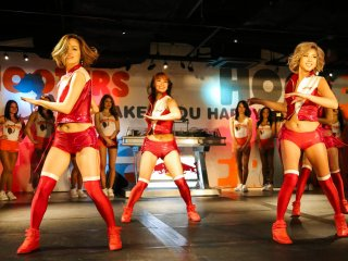 Budweiser dancers performing on the front stage