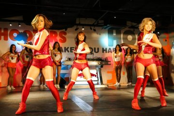 <p>Budweiser dancers performing on the front stage</p>