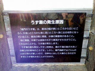 Sign explaining why and how whirlpools occur in Naruto Strait. It says the best season to see them is in April, but in Naruto, as currents are fierce, they can be seen throughout the year just after noon during spring tide