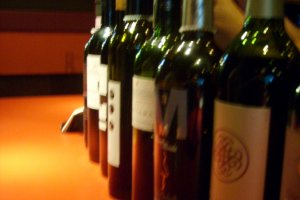 Some wine on the bar, where it belongs