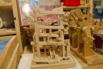 <p>Some of the marble racing contraptions are quite intricate</p>