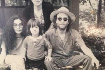<p>John Lennon, Yoko Ono and Sean relaxing one afternoon in 1979 at Rizanbo. The lady in the background is the owner and still works there today. The picture hangs on the wall with many more of John playing in the grounds with Sean</p>