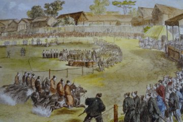 In 1867 Charles Wirgman reported for the Illustrated London News on a horse race that took place at the British Garrison in Yokohama.