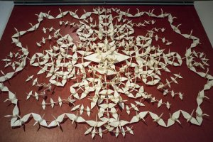 An impressive display of 307 paper cranes, made out of one large piece of hemp washi paper, at the Echizen Paper Culture Museum.