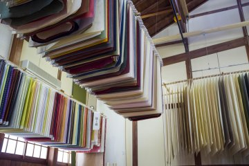 <p>Thousands of different types of washi paper line the back hall.</p>