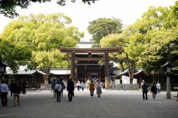 <p>ทางเข้าสู่ศาลเจ้าเมจิ ใกล้สวนโยโยงิในฮาราจูกุ โตเกียว</p>
