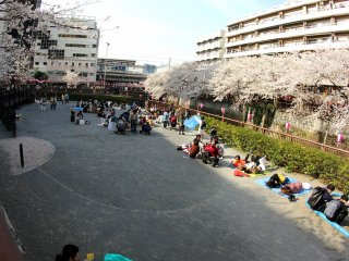 Many people brought blankets and they sat down to eat and drink and enjoy the beautiful scenery.
