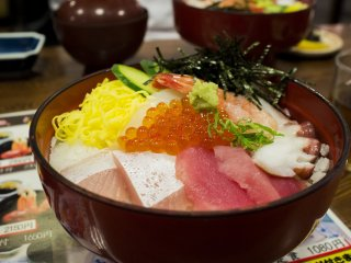 The kaisendon, a variety of fresh sashimi on rice. Heavenly!