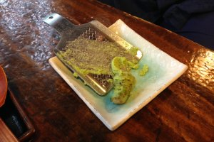 A stem of wasabi and a grater for you to prepare your own.