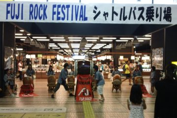 <p>The local taiko troupe entertain visitors as the arrive at Echigo Yuzawa Station</p>