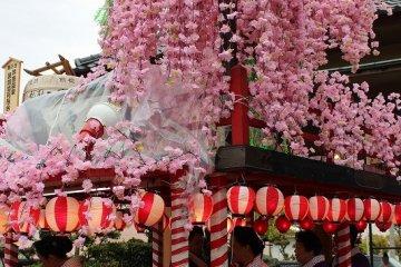 """산차를 장식하는 수양 벚꽃은 축제가 끝난 뒤 관람객에게 나눠진다. 이것은 불조심의 은혜가 있다고 한다. 쇼와 31년에 아와라 온천이 전소된 """"아와라 대화재""""에 대한 대비책이다"""