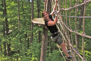 Swing like Tarzan, look like Jane. My friend Rebecca moves swiftly across the ropes. Piece of cake!
