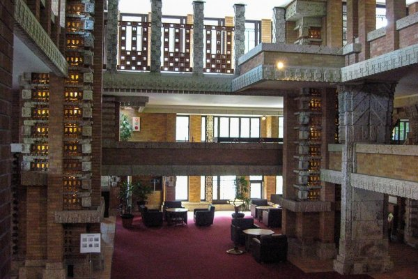 Frank Lloyd Wright's Tokyo Imperial Hotel. View from inside the lobby