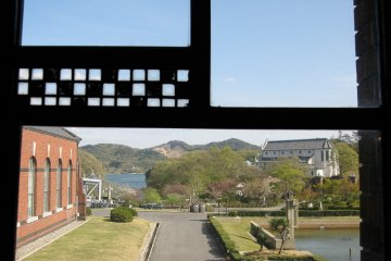 <p>Looking out at Meji Mura from a Frank Lloyd Wright designed window</p>