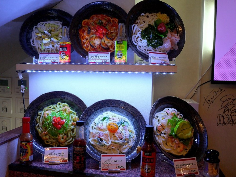 The usual plastic models of the food near the door