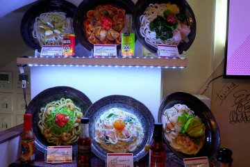 <p>The usual plastic models of the food near the door</p>