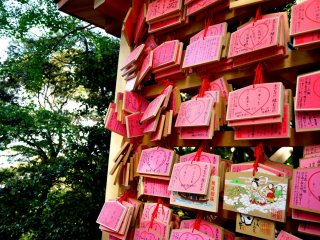 Ema - wooden plaques with requests to Shinto gods written on them