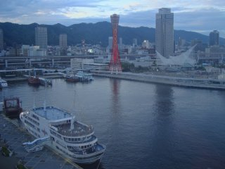 A view of the Kobe Port Tower from the Ferris Wheel attraction at the Mosaic mall near the tower.