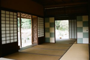 Interior view of the Shokin-tei, the most important tea pavilion in the Katsura complex