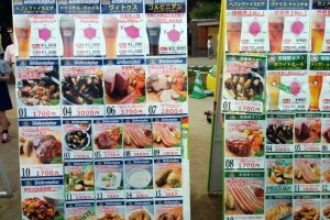 The extensive menu of drinks and food is found on displays throughout the festival. Each booth sells some combination of these items