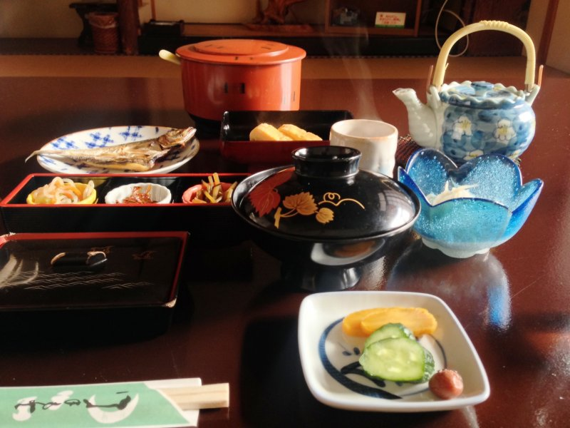 <p>Stunning breakfast in your own room. &nbsp;They only serve Japanese style cuisine here.</p>
