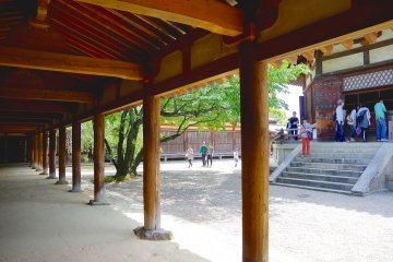 <p>Door of Yume-dono Hall as seen from the cloister</p>