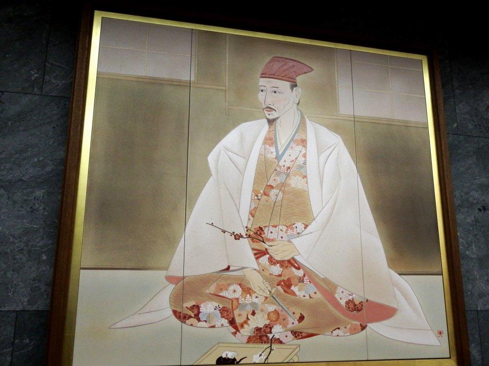 天守閣入口近くに飾られた豊臣秀吉の肖像画。16世紀に大阪城を最初に築城した天下人だ
