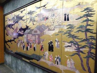 Replika 'Namban Byobu Screen'; aslinya adalah kekayaan budaya penting Jepang