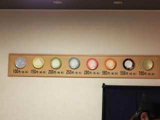 El precio de cada plato depende de su color