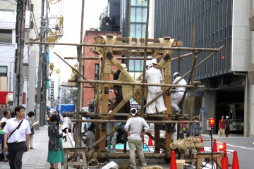 Setting up for Gion Matsuri