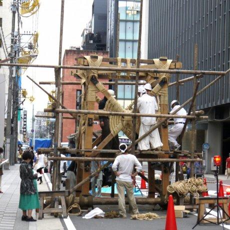 Setting up for Gion Matsuri
