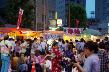 <p>More than 100 food stands open side by side</p>