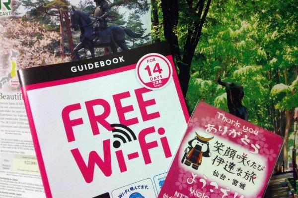 Pegue o seu cartão de Wi-Fi gratuito na estação de JR Sendai, no aeroporto ou destinos turísticos em Miyagi