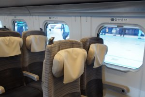 Shinkansen have spacious, comfy seating, and plenty of legroom