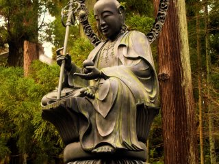 A statue of EnmeiJizo, the image of longevity. The brass image was made in 1863 and was modeled on a Buddhist priest that lived until old age