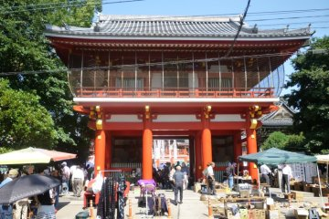 The antiques spill out onto the street at Osu Kannon