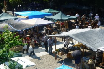 Sun shaded stalls at Osu's twice monthly antiques fair.
