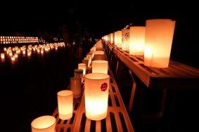 أضواء في الخندق المائي لقلعة فوكوي