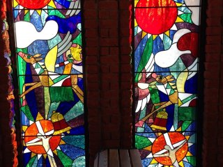 Stained glass windows in the small chapel as you enter the grounds of the Gallery