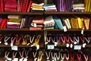 The large, colorful selection of Obi's and Geta's at Marui City Shibuya.