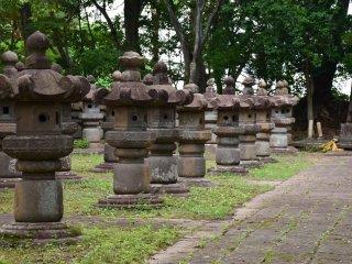 Những chiếc đèn đá được lót rêu ở nghĩa trang Tsunamura