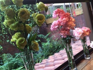 The flowers in the table