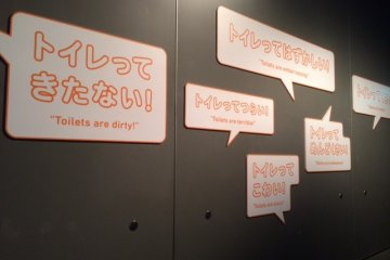 Some sentences about toilets in the beginning of the exhibition