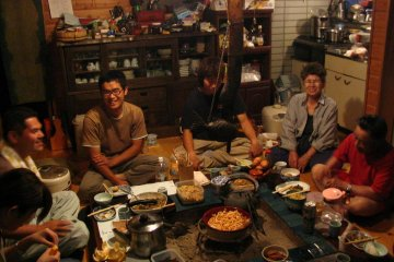 <p>Enjoying good company and a home-cooked meal</p>