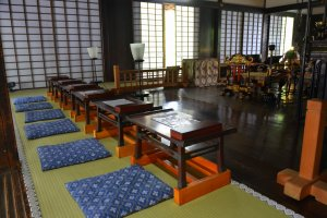 Interior of Ryogeden Hall whereby one can try shakyo.