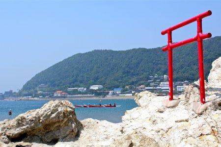 Bãi biển Isshiki ở Hayama vào mùa hè