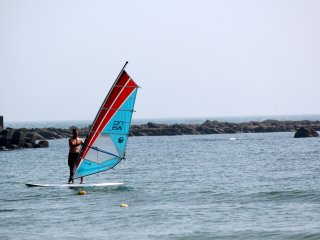 Windsurfing is a popular water sport on the north end of Isshiki