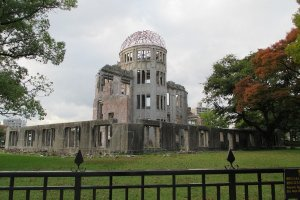 The A-bomb Dome. One of the few remnants from the bomb. It was once the Hiroshima Prefectural Industrial Promotion Hall, now it serves as a grim reminder of the destructive power of the atomic bomb.