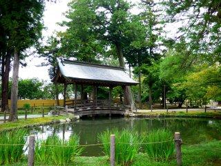 Ao với cây cầu gỗ có mái che rất đặc biệt